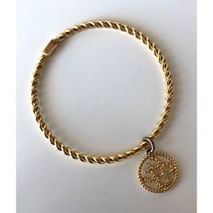 Coach- Frozen Rope Gold Bangle with Charm